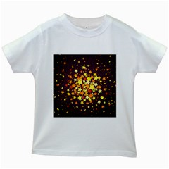 Colorful Confetti Stars Paper Particles Scattering Randomly Dark Background With Explosion Golden St Kids White T-shirts