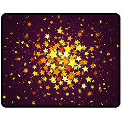 Colorful Confetti Stars Paper Particles Scattering Randomly Dark Background With Explosion Golden St Double Sided Fleece Blanket (medium)