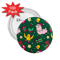 Funny Decoration Christmas Pattern Background 2 25  Buttons (100 Pack)  by Vaneshart