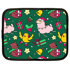 Funny Decoration Christmas Pattern Background Netbook Case (large)