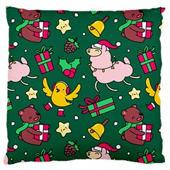 Funny Decoration Christmas Pattern Background Large Cushion Case (two Sides)