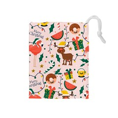 Colorful Funny Christmas Pattern Merry Xmas Drawstring Pouch (medium) by Vaneshart