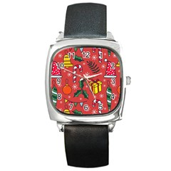 Colorful Funny Christmas Pattern Square Metal Watch by Vaneshart