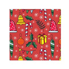 Colorful Funny Christmas Pattern Small Satin Scarf (square)
