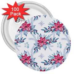Watercolor Christmas Floral Seamless Pattern 3  Buttons (100 Pack)  by Vaneshart