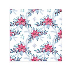 Watercolor Christmas Floral Seamless Pattern Small Satin Scarf (square)