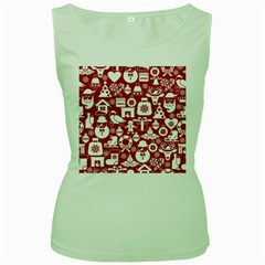 Christmas Seamless Pattern Icons Women s Green Tank Top by Vaneshart