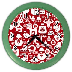 Christmas Seamless Pattern Icons Color Wall Clock