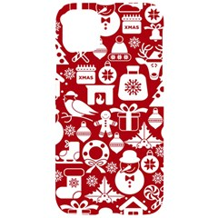 Christmas Seamless Pattern Icons Iphone 11 Black Uv Print Case by Vaneshart