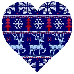 Knitted Christmas Pattern Wooden Puzzle Heart