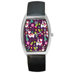 Colorful Funny Christmas Pattern Barrel Style Metal Watch