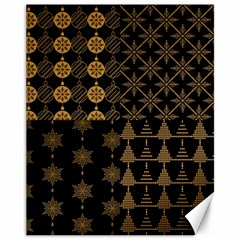 Golden Christmas Pattern Collection Canvas 11  X 14