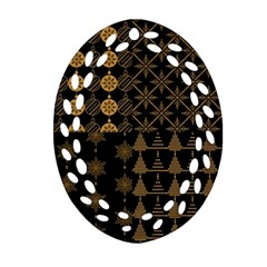 Golden Christmas Pattern Collection Ornament (oval Filigree)