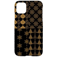 Golden Christmas Pattern Collection Iphone 11 Black Uv Print Case