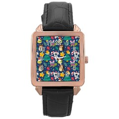 Colorful Funny Christmas Pattern Rose Gold Leather Watch