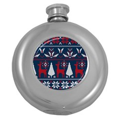 Knitted Christmas Pattern Round Hip Flask (5 Oz) by Vaneshart