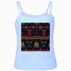 Knitted Christmas Pattern Baby Blue Spaghetti Tank