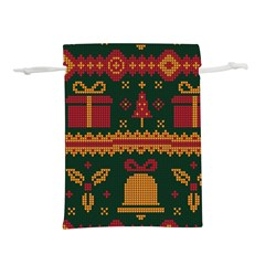 Knitted Christmas Pattern Lightweight Drawstring Pouch (m)