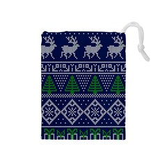 Beautiful Knitted Christmas Pattern Drawstring Pouch (medium) by Vaneshart