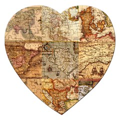 Ancient Maps Jigsaw Puzzle (heart) by augustinet