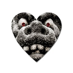 Monster Sculpture Extreme Close Up Illustration 2 Heart Magnet by dflcprintsclothing