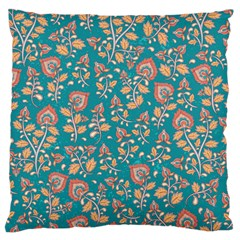 Teal Floral Paisley Standard Flano Cushion Case (one Side) by mccallacoulture