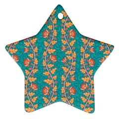 Teal Floral Paisley Stripes Star Ornament (two Sides) by mccallacoulture