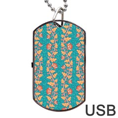 Teal Floral Paisley Stripes Dog Tag Usb Flash (one Side) by mccallacoulture