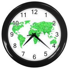 Environment Concept World Map Illustration Wall Clock (black) by dflcprintsclothing