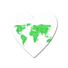 Environment Concept World Map Illustration Heart Magnet by dflcprintsclothing
