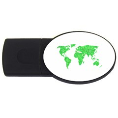 Environment Concept World Map Illustration Usb Flash Drive Oval (2 Gb) by dflcprintsclothing