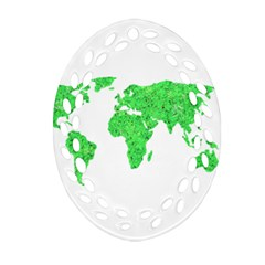 Environment Concept World Map Illustration Oval Filigree Ornament (two Sides)