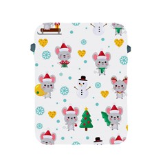Christmas Seamless Pattern With Cute Kawaii Mouse Apple Ipad 2/3/4 Protective Soft Cases
