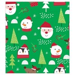 Cute Face Christmas Character Cute Santa Claus Reindeer Snowman Penguin Drawstring Pouch (Medium) Front