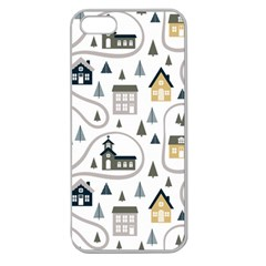Abstract Seamless Pattern With Cute Houses Trees Road Apple Seamless Iphone 5 Case (clear)
