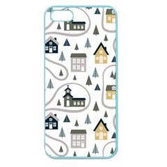 Abstract Seamless Pattern With Cute Houses Trees Road Apple Seamless Iphone 5 Case (color)
