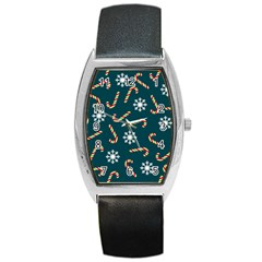 Christmas Seamless Pattern With Candies Snowflakes Barrel Style Metal Watch by Vaneshart