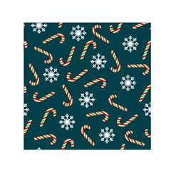 Christmas Seamless Pattern With Candies Snowflakes Small Satin Scarf (square)
