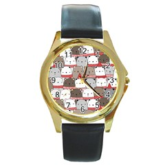 Cute Adorable Bear Merry Christmas Happy New Year Cartoon Doodle Seamless Pattern Round Gold Metal Watch