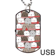 Cute Adorable Bear Merry Christmas Happy New Year Cartoon Doodle Seamless Pattern Dog Tag Usb Flash (two Sides)