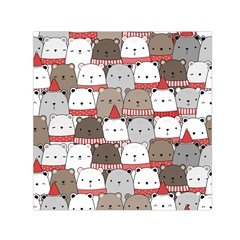 Cute Adorable Bear Merry Christmas Happy New Year Cartoon Doodle Seamless Pattern Small Satin Scarf (square)