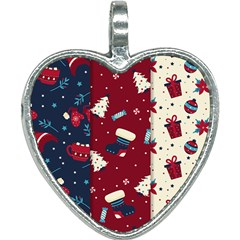 Flat Design Christmas Pattern Collection Art Heart Necklace by Vaneshart