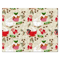 Christmas Coffe Cupcake Seamless Pattern Rectangular Jigsaw Puzzl by Vaneshart