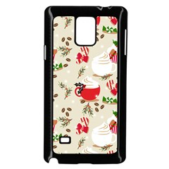Christmas Coffe Cupcake Seamless Pattern Samsung Galaxy Note 4 Case (black)