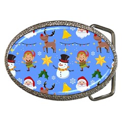 Funny Christmas Pattern With Snowman Reindeer Belt Buckles by Vaneshart