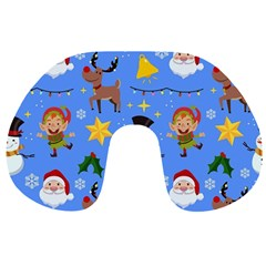 Funny Christmas Pattern With Snowman Reindeer Travel Neck Pillow