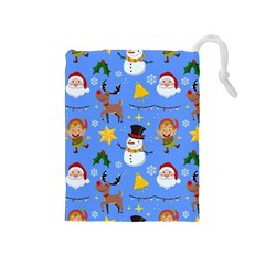 Funny Christmas Pattern With Snowman Reindeer Drawstring Pouch (medium) by Vaneshart