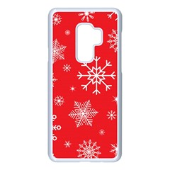 Christmas Seamless With Snowflakes Snowflake Pattern Red Background Winter Samsung Galaxy S9 Plus Seamless Case(white)
