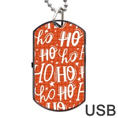 Ho Ho Ho Lettering Seamless Pattern Santa Claus Laugh Dog Tag Usb Flash (two Sides) by Vaneshart