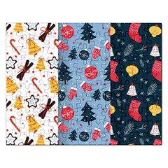 Christmas Pattern Collection Flat Design Rectangular Jigsaw Puzzl by Vaneshart